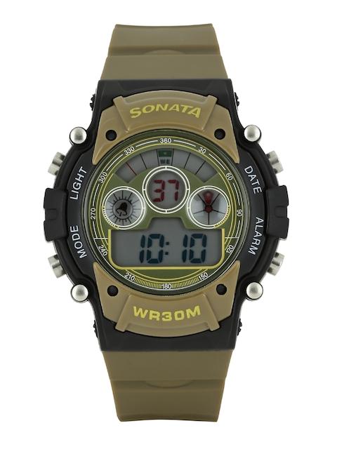 Sonata Ocean Series Men Brown Dial Digital Watch 77006PP01J