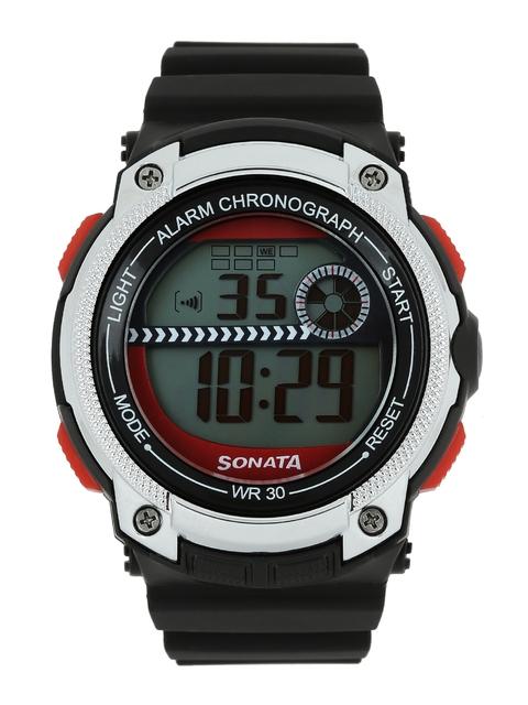 Sonata Ocean Series Men Black Dial Digital Watch 77005PP03J