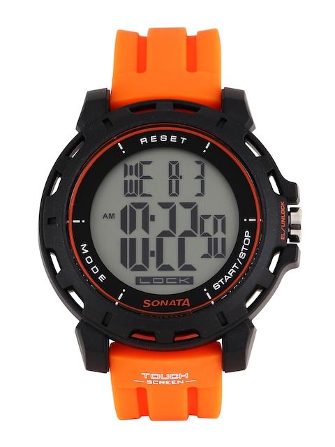 Sonata Ocean Series Men Orange Digital Watch 77037PP01