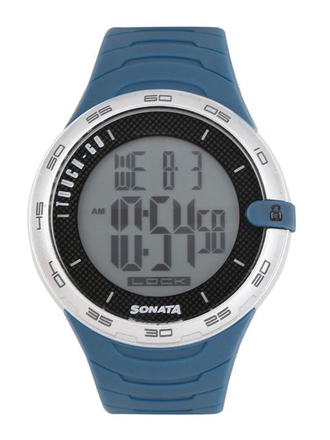 Sonata Ocean Series Navy Digital Men's Watch, 77041PP05