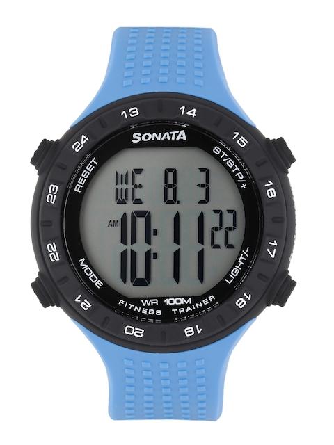 Sonata Ocean Series Men Blue Digital Watch with Pedometer 77041PP03