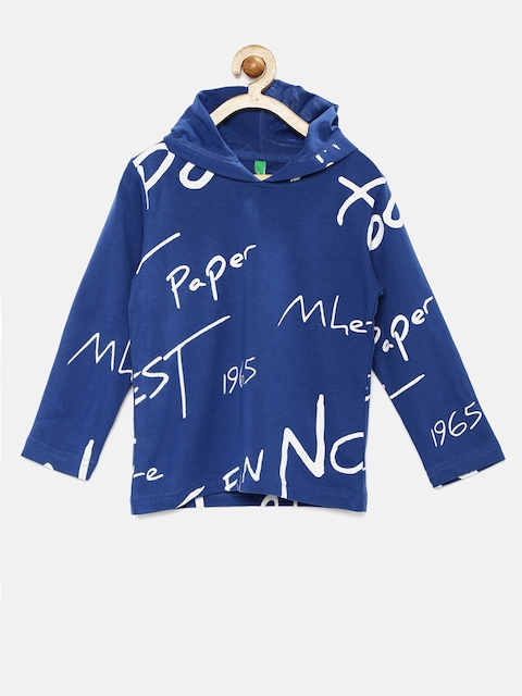United Colors of Benetton Boys Blue Printed Hooded T-shirt