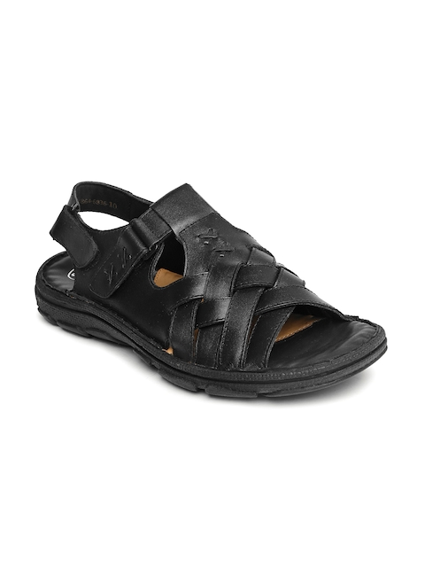 Dr. Scholl Men Black Leather Sandals  available at myntra for Rs.1429
