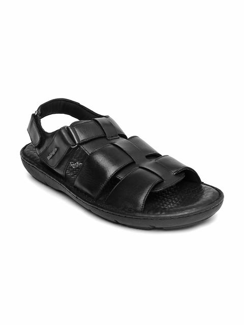 Hush Puppies Men Black Leather Sandals