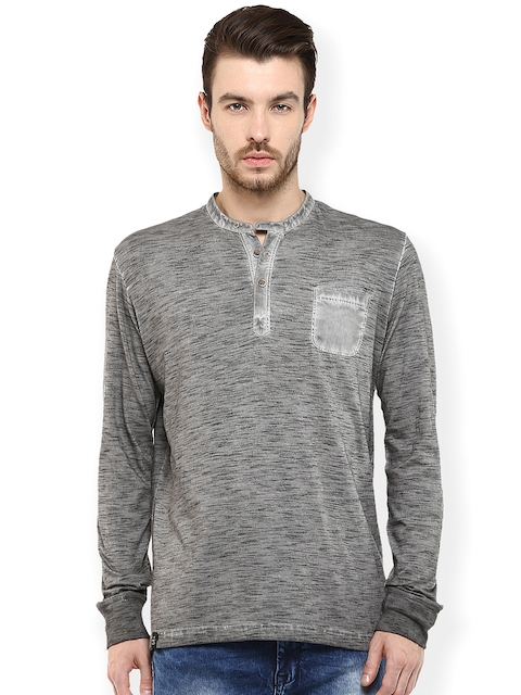 Mufti Grey Speckled Henley T-shirt