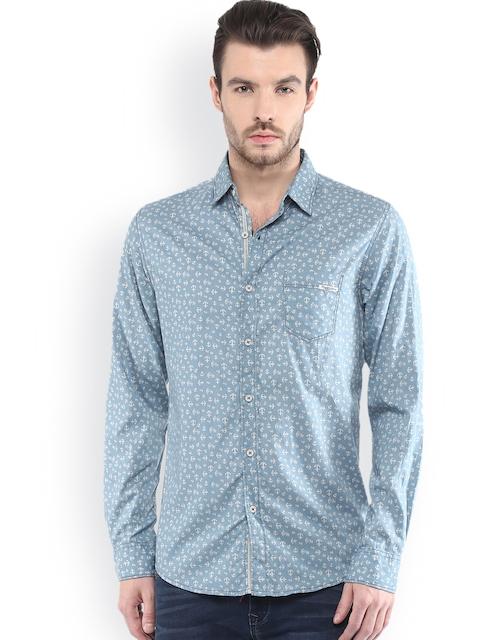 Mufti  Blue Printed Slim Fit Casual Shirt