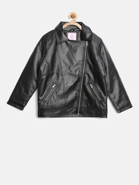 612 league Girls Black Biker Jacket