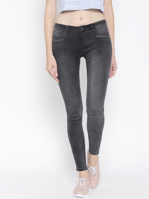 Vero Moda Grey Washed Panelled Stretchable Jeans