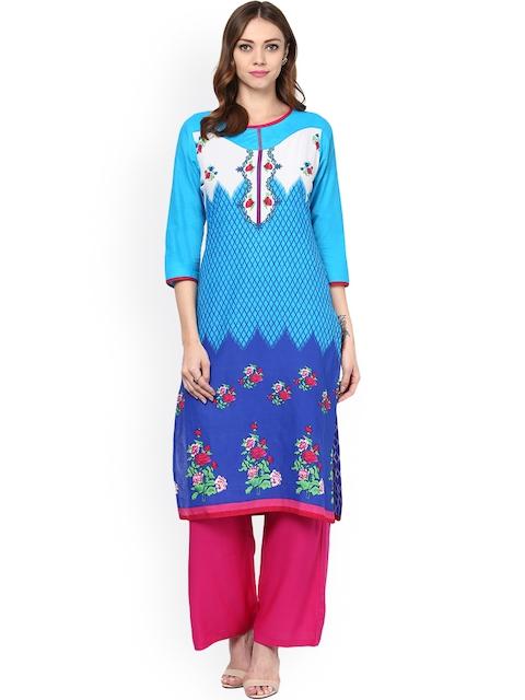 Jaipur Kurti Blue Printed Kurta