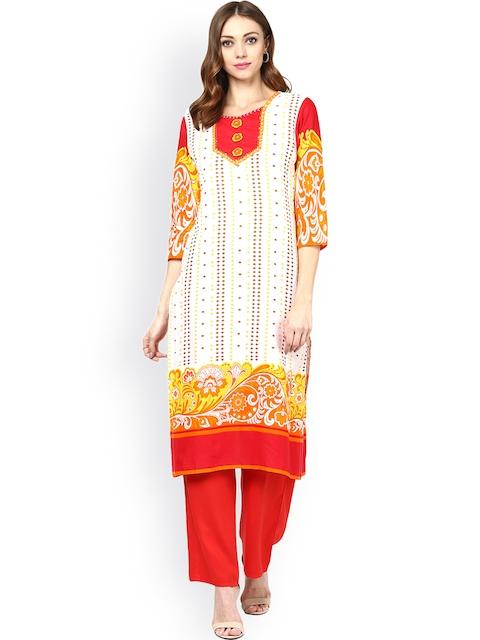 Jaipur Kurti White & Red Printed Kurta with Palazzo Trousers