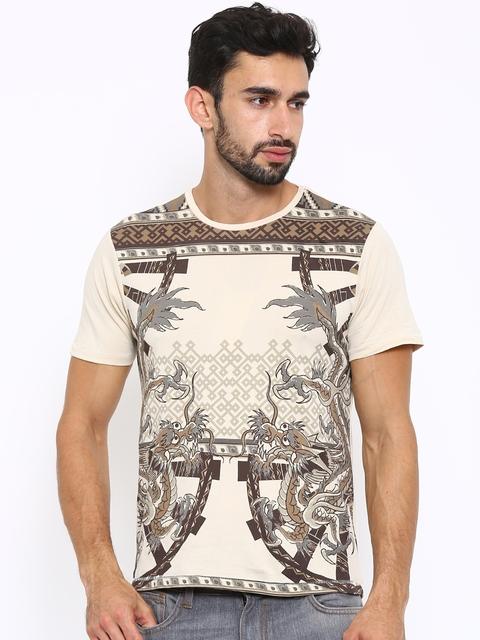 Ed Hardy Men Beige Printed Round Neck T-shirt
