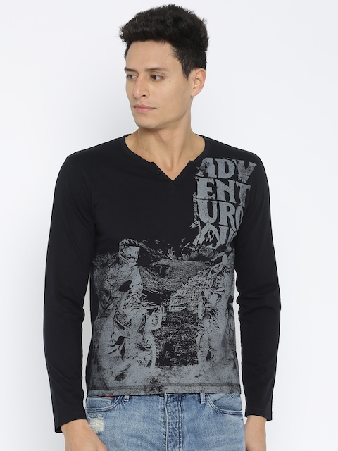 Roadster Black Printed T-shirt