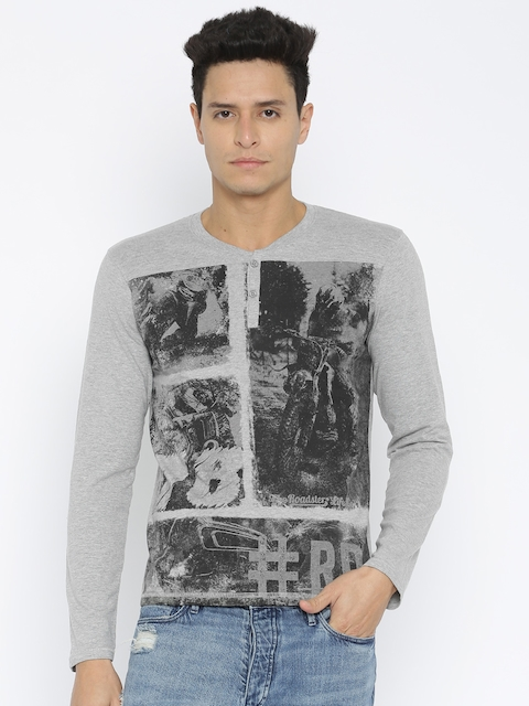 Roadster Grey Henley Printed T-shirt
