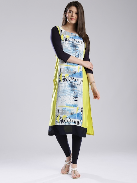 W Women Lime Green Printed Kurta