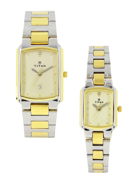 Titan Bandhan Set of 2 His & Her Muted Gold-Toned Dial Watches NH19552955BM02