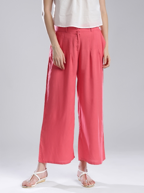 W Women Coral Pink Palazzo Trousers
