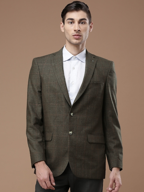 Louis Philippe Brown Checked Classic Fit Single-Breasted Blazer