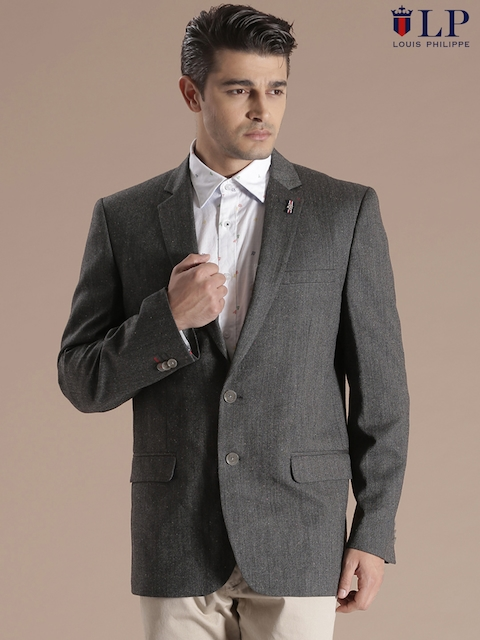 Louis Philippe Sport Charcoal Grey Single-Breasted Blazer