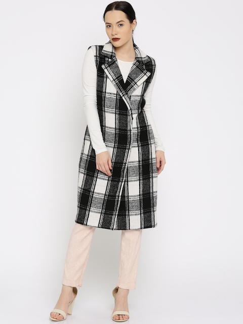 All About You from Deepika Padukone Black & White Checked Sleeveless Longline Jacket