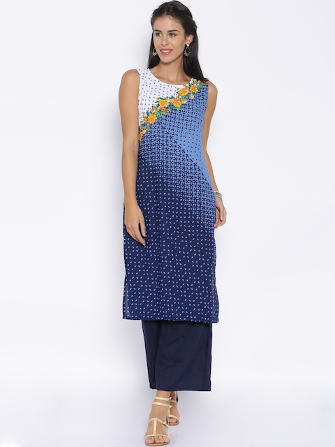 Vishudh Women Navy Blue Printed Straight Kurta  available at myntra for Rs.339