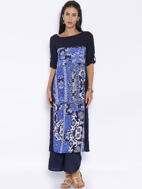 Vishudh Women Navy Blue Printed Straight Kurta  available at myntra for Rs.379