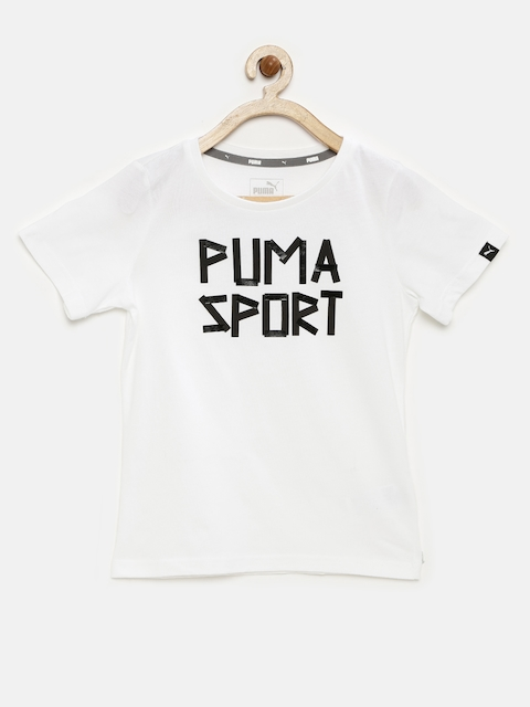 PUMA Boys White & Black Sports Style DryCELL Printed T-shirt  available at myntra for Rs.269