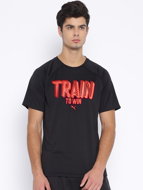 PUMA Black Printed Polyester T-Shirt