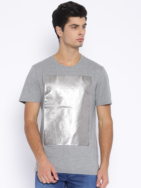PUMA Grey Melange Embossed Foil Printed T-Shirt