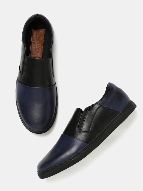 Roadster Men Navy Blue Colourblocked Slip-On Sneakers  available at myntra for Rs.629