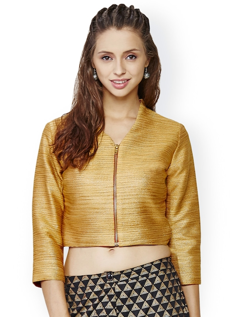 Global Desi Gold-Toned Polyester Tailored Crop Jacket