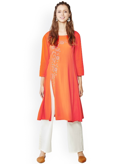 Global Desi Orange Kurta with Embroidered Detail