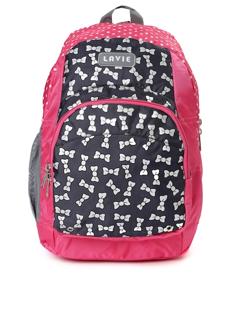 Lavie Women Pink & Black Printed Impact Backpack