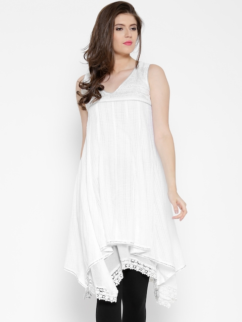 BIBA White Self-Checked Anarkali Kurta  available at myntra for Rs.999