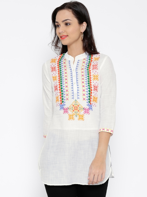 BIBA White Printed Tunic  available at myntra for Rs.599