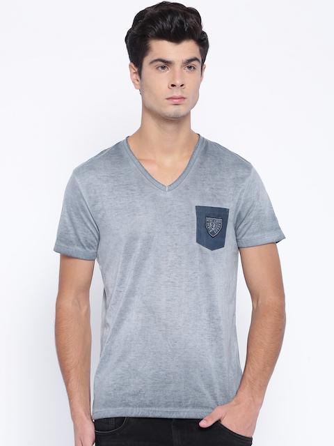 Being Human Men Grey Solid V-Neck T-Shirt