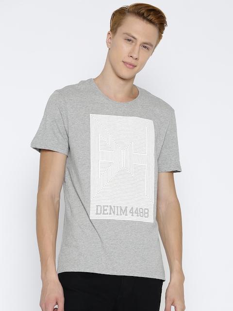 Being Human Men Grey Melange Printed T-Shirt