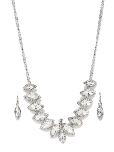 DressBerry Silver-Toned Embellished Jewellery Set
