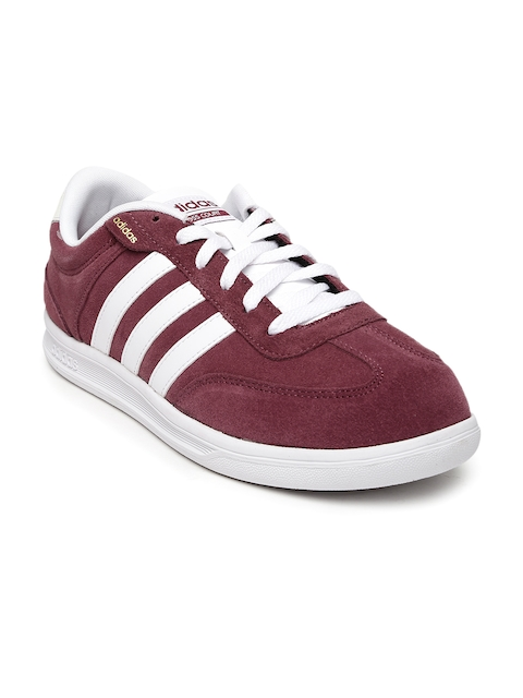 Adidas NEO Men Burgundy Suede Cross Court Sneakers  available at myntra for Rs.3899