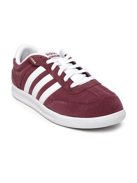 Adidas NEO Men Burgundy Suede Cross Court Sneakers