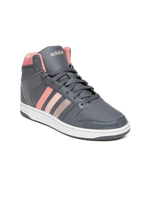 Adidas NEO Women Grey Hoopster Mid-Top Sneakers