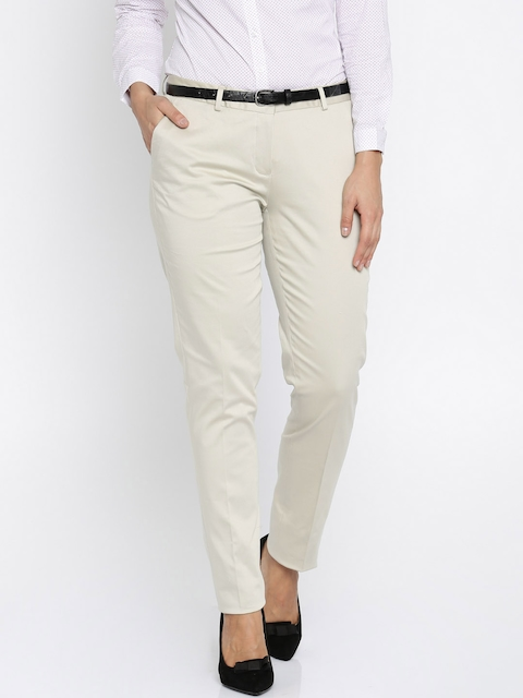 Allen Solly Beige Solid Formal Trousers