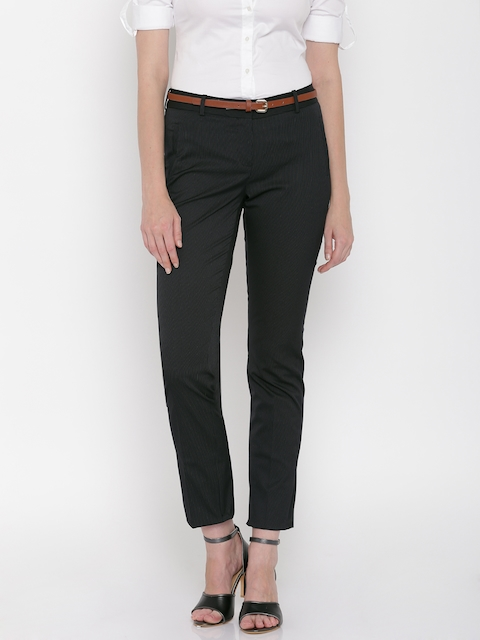 Allen Solly Woman Black Striped Regular Fit Flat-Front Trousers