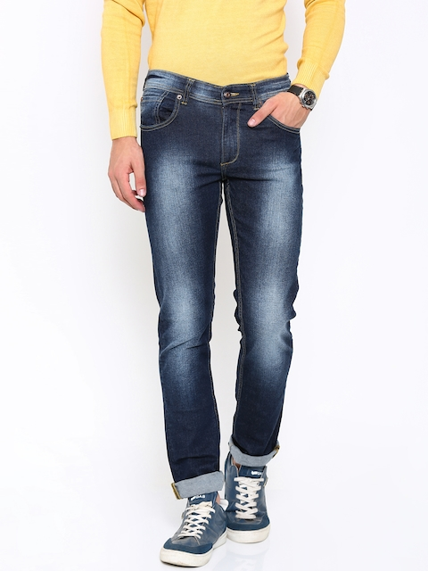 SPYKAR Men Blue Washed Rover Slim Fit Low-Rise Stretchable Jeans  available at myntra for Rs.919