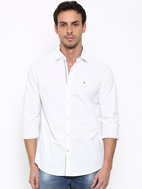SPYKAR Men White Regular Fit Solid Casual Shirt