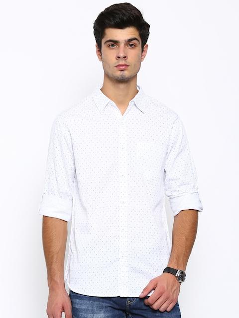 SPYKAR Men White Regular Fit Printed Casual Shirt