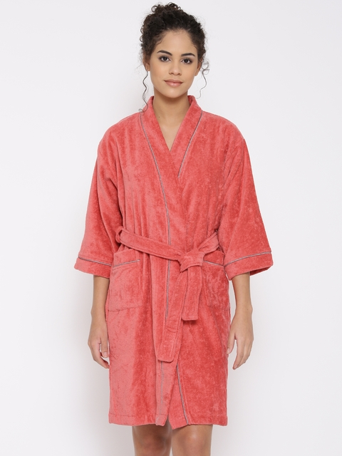 SPACES Unisex Coral Red Bathrobe