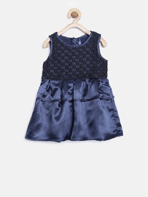 YK Infant Girls Navy Embroidered Fit & Flare Dress