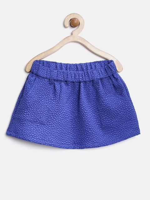 YK Baby Girls Blue Patterned Mini Skirt  available at myntra for Rs.199