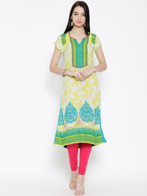 Rangriti Women Yellow & White Printed Straight Kurta