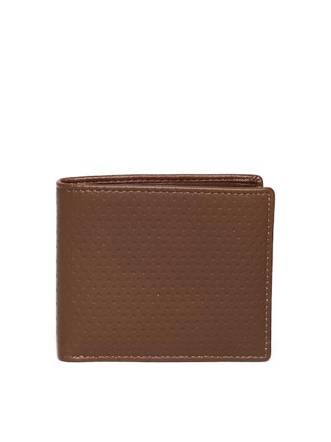 John Players Men Brown Textured Genuine Leather Wallet
